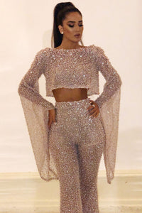Casual Boat Neck Bell Sleeve Bare Back Two-piece Sequin Suit