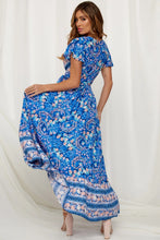 Load image into Gallery viewer, Blue V-Neck Beach Resort Printed Dress