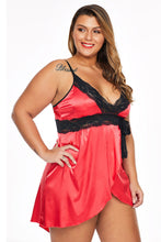 Load image into Gallery viewer, Red Lace V Neckline Plus Size Babydoll