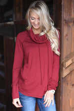 Load image into Gallery viewer, Burgundy Drawstring Cowl Neck Sweatshirt