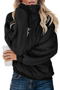 Black Traverse Pocketed Sherpa Pullover Sweatshirt