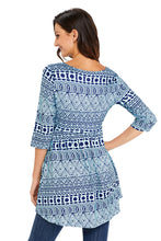 Load image into Gallery viewer, Tribal Geometric Print Blue Elegant Long Top