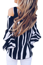 Load image into Gallery viewer, Black Cold Shoulder Vertical Stripes Blouse