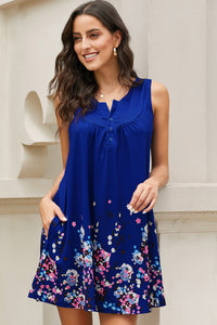 Blue Crew Neck A-Line Daily Beach Floral Dress