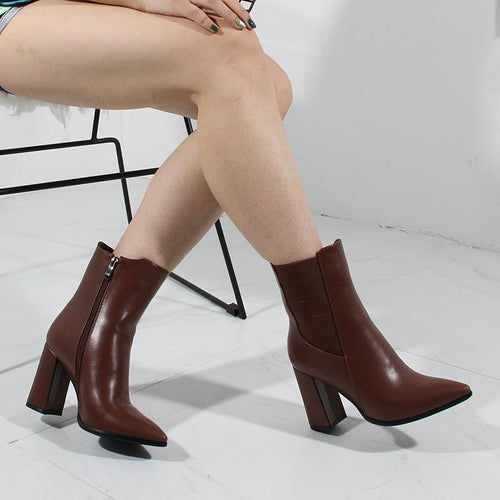 2020 Autumn High Heel Boots Women Short Boots Brand Designer Fashion Office Lady Shoes Nysiani Pointed Toe Elastic Band Shoes