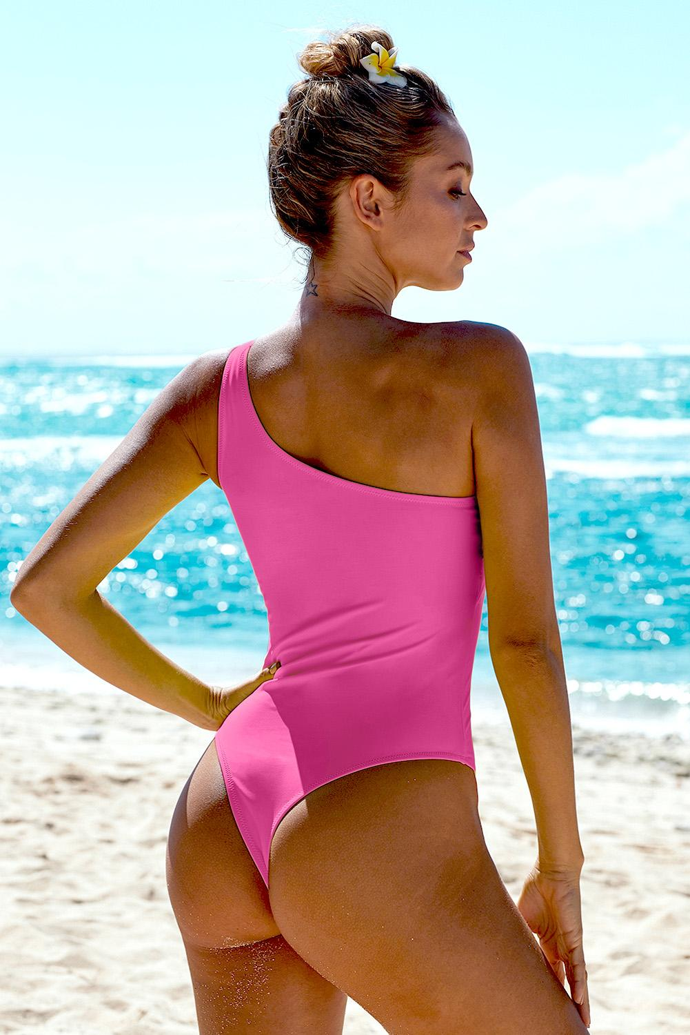 Rose One Shoulder One Piece Swimsuit