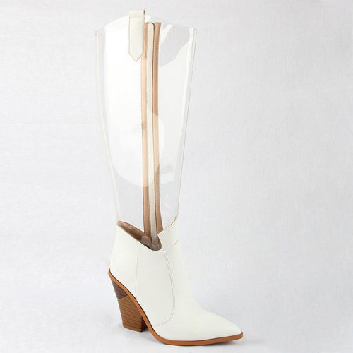2020 Autumn New Western Shoes Women Pvc Thigh High Boots Clear Pointed Toe Crystal Heel Over Knee Transparent Boots Rain Boots White
