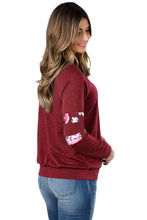 Load image into Gallery viewer, Floral Patch Accent Burgundy Sweatshirt
