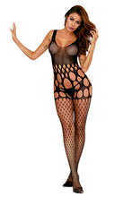 Load image into Gallery viewer, Black Mesh Pothole and Fishnet Bodystocking