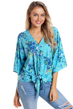Load image into Gallery viewer, Navy Blue Flowerlet Print Tie Front Kimono Sleeve Blouse