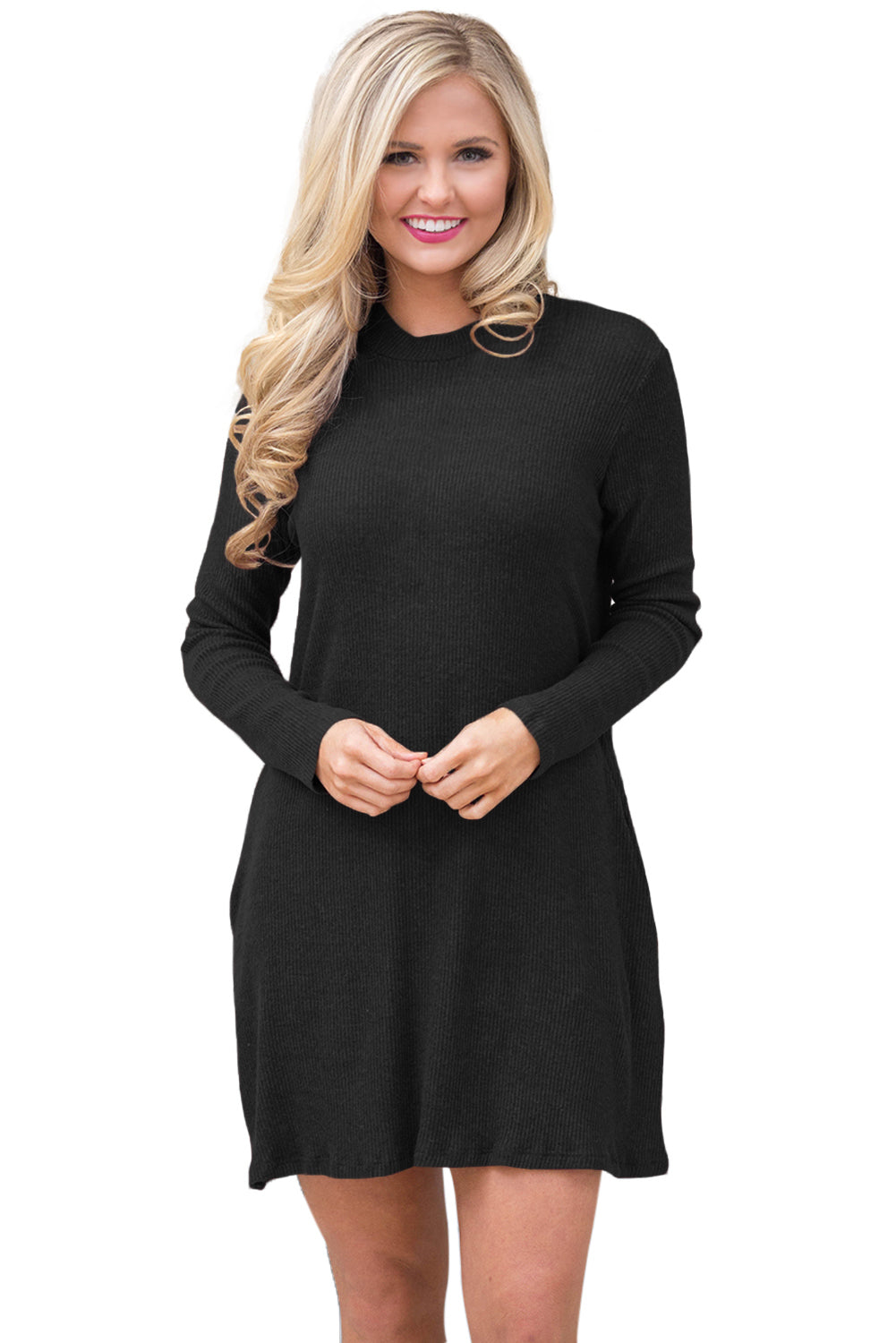 Black High Neck Long Sleeve Knit Sweater Dress