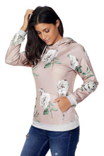Load image into Gallery viewer, Apricot Floral Drawstring Hoodie