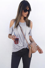 Load image into Gallery viewer, Gray Twist Front Cold Shoulder Tee