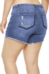 Light Blue Almost Famous Frayed Denim Shorts