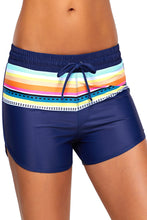 Load image into Gallery viewer, Striped Print Accent Navy Blue Drawstring Board Shorts