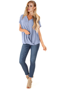 Sky Blue Short Sleeve Button up Blouse with Twisted