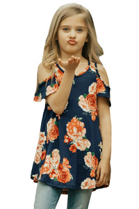 Navy Floral Print Cold Shoulder Top for Girls