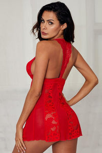 Red Floral Lace Mesh Splicing Babydoll Lingerie