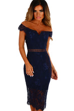 Load image into Gallery viewer, Navy Lace Bardot Midi Dress