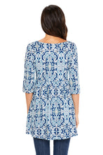 Load image into Gallery viewer, Mint Navy Leafy Print Elegant Long Top