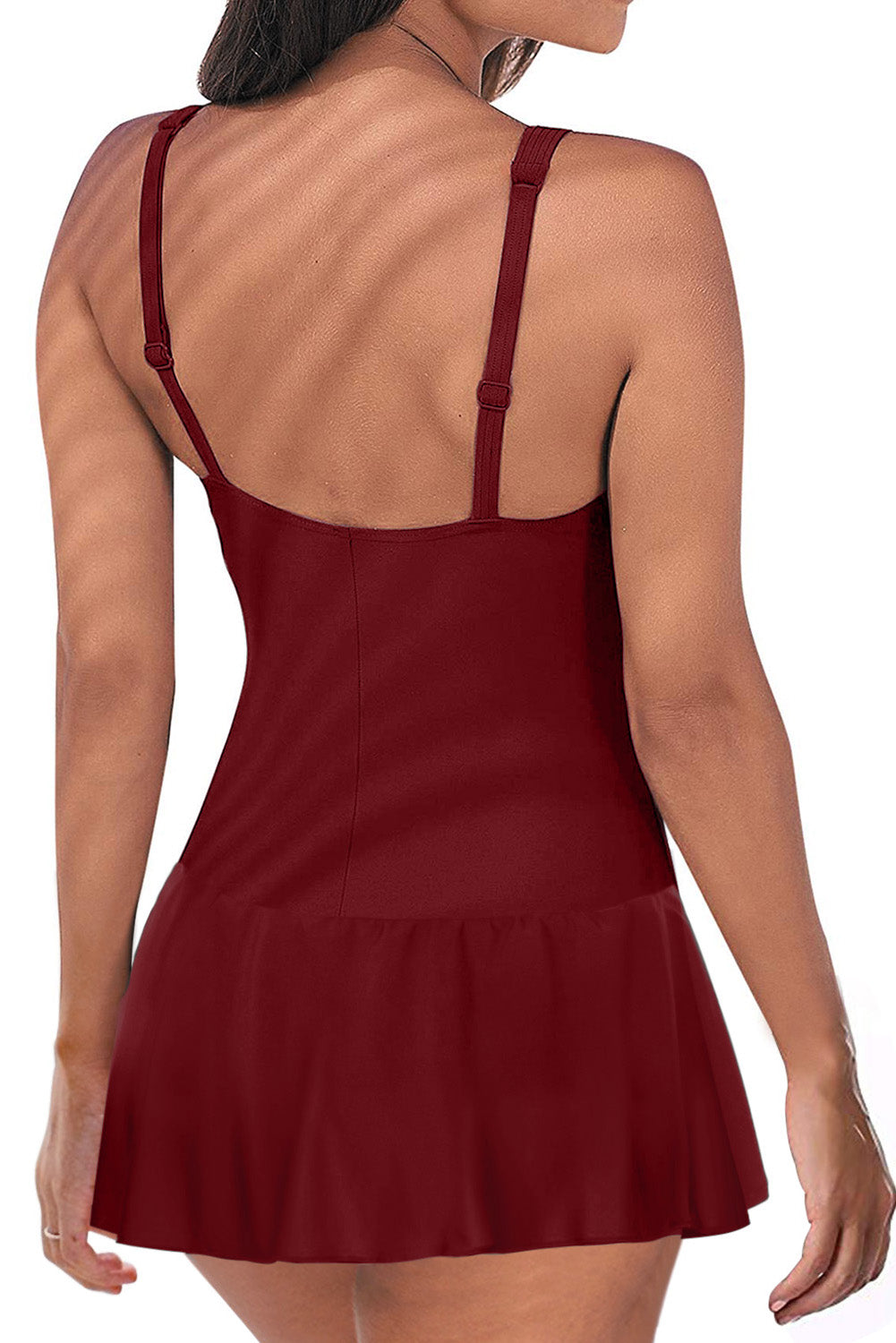 Red Padded Push up One Piece Swimdress
