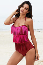Load image into Gallery viewer, Rose Multi-layer Fringed One-piece Swimwear
