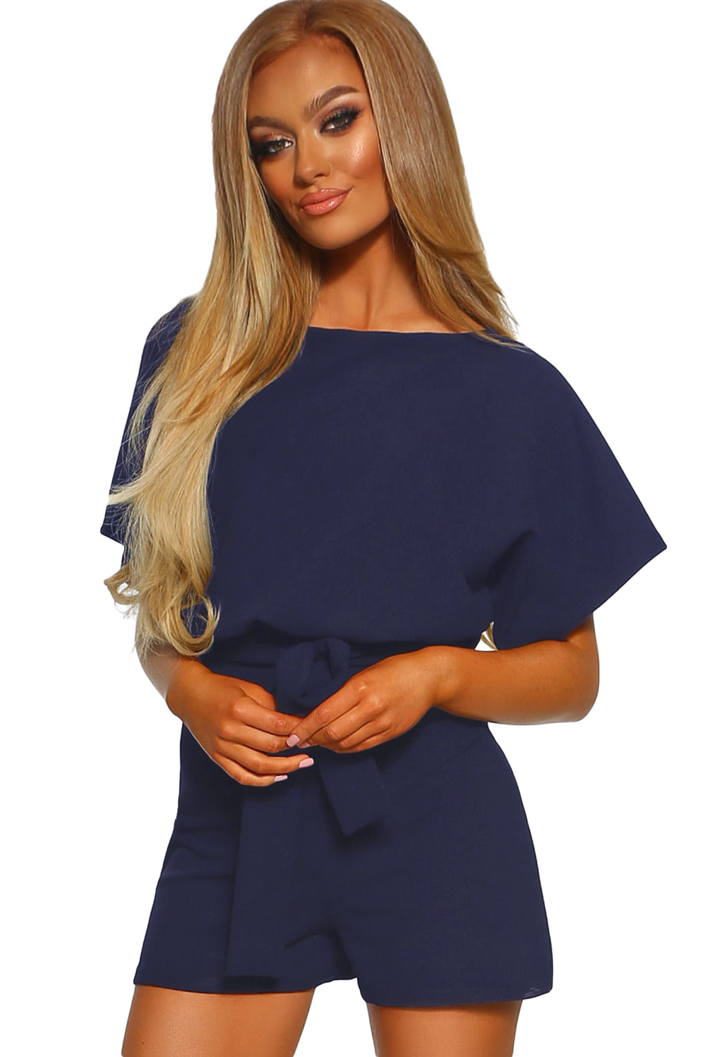 Blue Over The Top Belted Playsuit