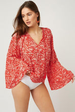 Load image into Gallery viewer, Red Chiffon V Neck Printed Bell Sleeve Blouse
