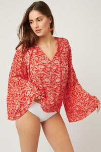 Red Chiffon V Neck Printed Bell Sleeve Blouse