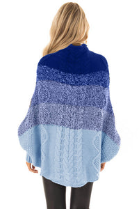 Sky Blue Ombre Thick Knit Poncho Style Sweater