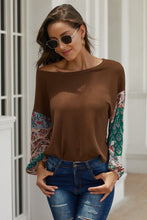 Load image into Gallery viewer, Brown Floral Sleeve Pullover Top