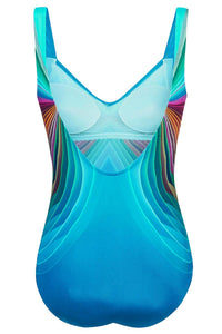 Sky Blue 3D Pattern Sport Maillot Swimsuit
