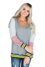Load image into Gallery viewer, Varsity Striped Grey Colorblock Hoodie