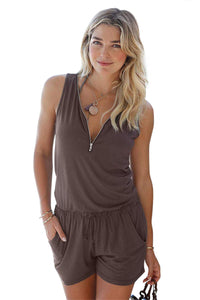 Brown Loose V Neck Front Zipper Jumpsuit