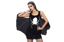 Load image into Gallery viewer, Black Jersey Dress Spiderweb Cosplay Costume
