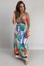 Load image into Gallery viewer, Yellow Tropical Print Holiday Maxi Dress