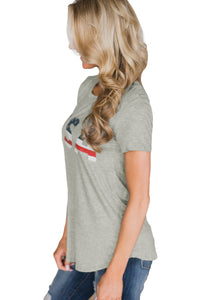 Gray Home Grown USA Flag Short Sleeve Tee Top