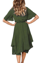 Load image into Gallery viewer, Green Chiffon Irregular Hem Short Sleeve Pleated Dress
