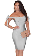 Load image into Gallery viewer, Off The Shoulder Sexy Bodycon Bandage Dress with Tie Bow