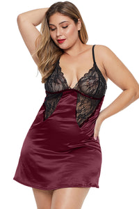 Red Coloblock Lace Cup Hollow-out Plus Size Babydoll