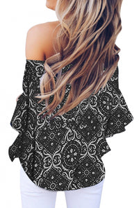 Black Bohemian Floral Print Off The Shoulder Blouse
