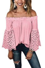 Load image into Gallery viewer, Pink Off The Shoulder Eyelet Sleeves Blouse