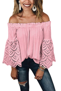 Pink Off The Shoulder Eyelet Sleeves Blouse