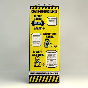Social Distancing Saftey Banner - including Graphic - Rounded Edge Store