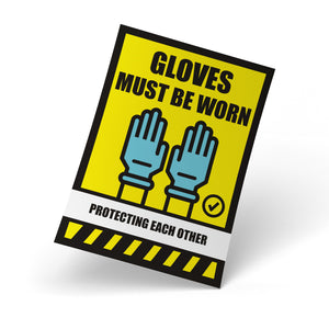 Safety Posters - Gloves Must Be Worn, Safety Poster - Rounded Edge Store