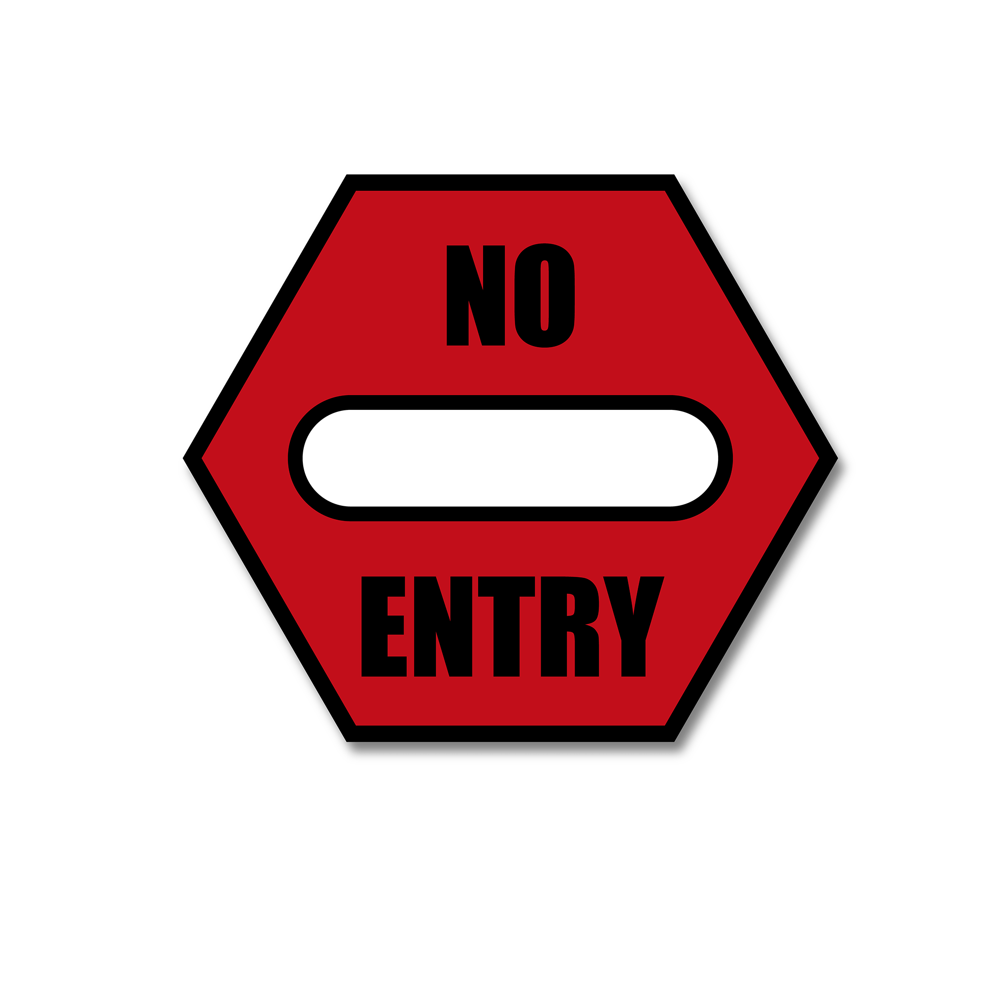 No Entry - Spot Floor Safety Sticker (Floor Shark) - Rounded Edge Store