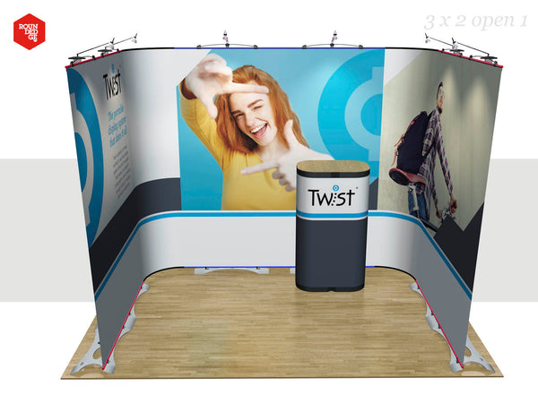 Twist - Floor space 3m x 2m open on one side (including counter)