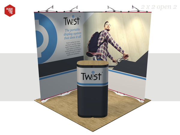 Twist - Floor space 2m x 2m open on two sides (including counter) - Rounded Edge Store