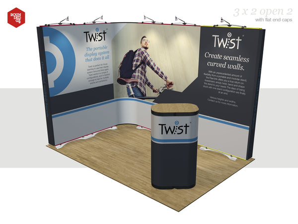 Twist - Floor space 3m x 2m open on two sides (including counter) - Rounded Edge Store