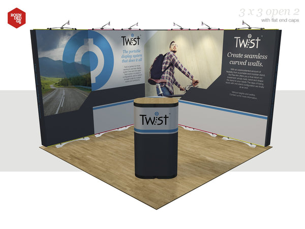 Twist - Floor space 3m x 3m open on two sides (including counter) - Rounded Edge Store